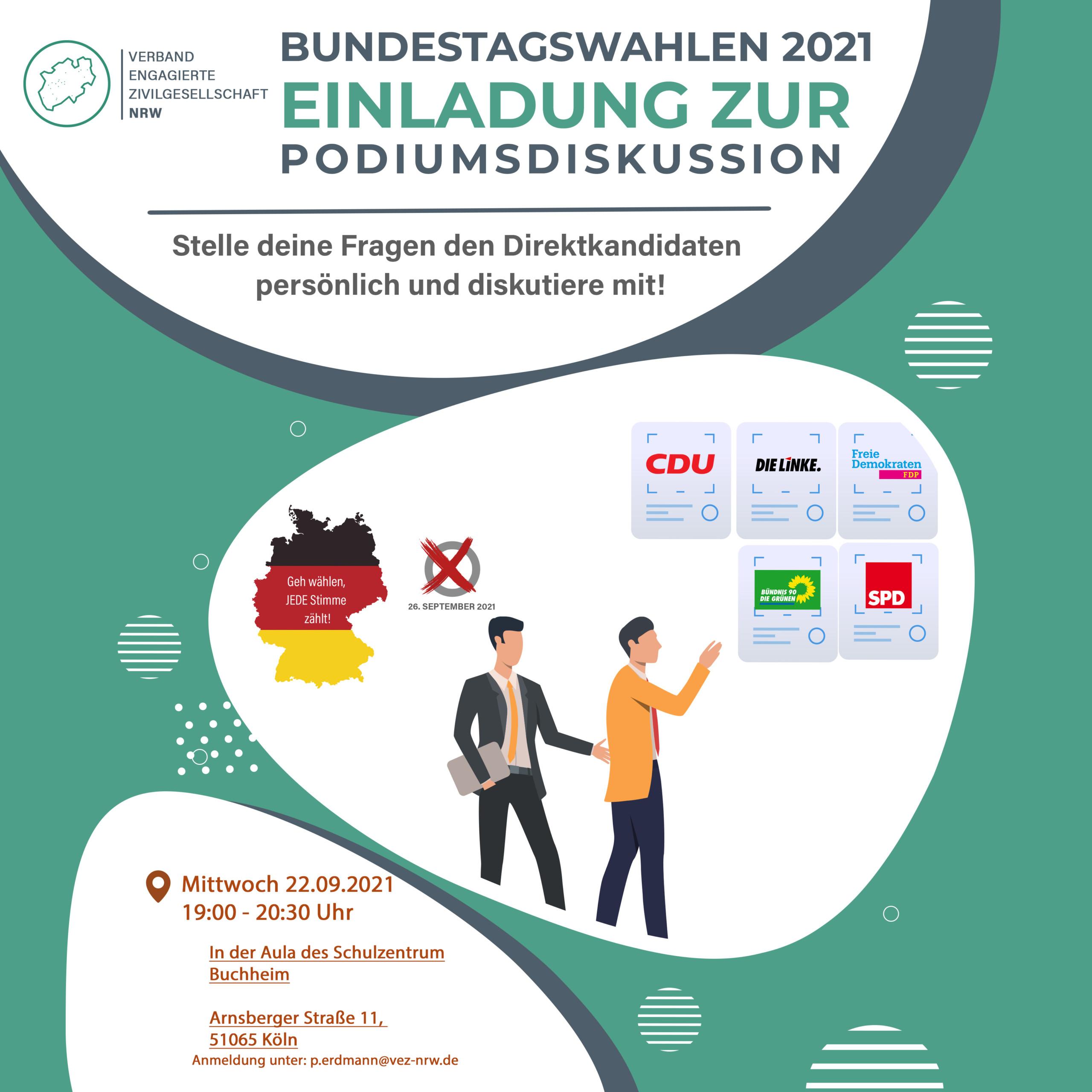 Einladung zur Podiumsdiskussion zur bevorstehenden Bundestagswahl